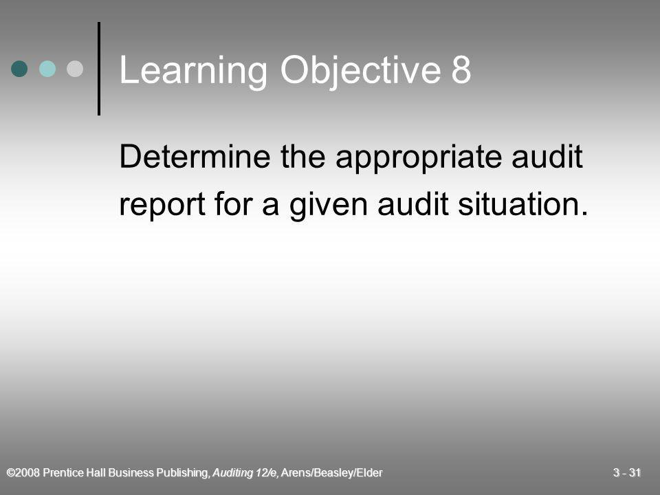 Learning Objective 8 Determine the appropriate audit
