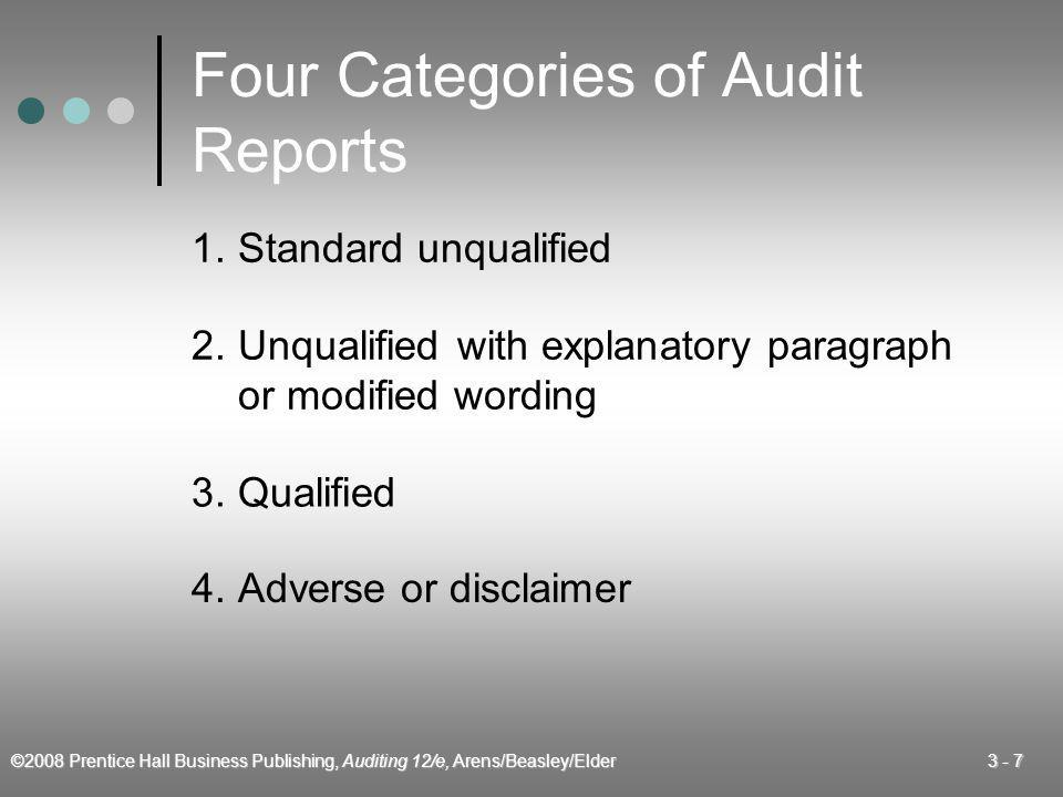 Four Categories of Audit Reports