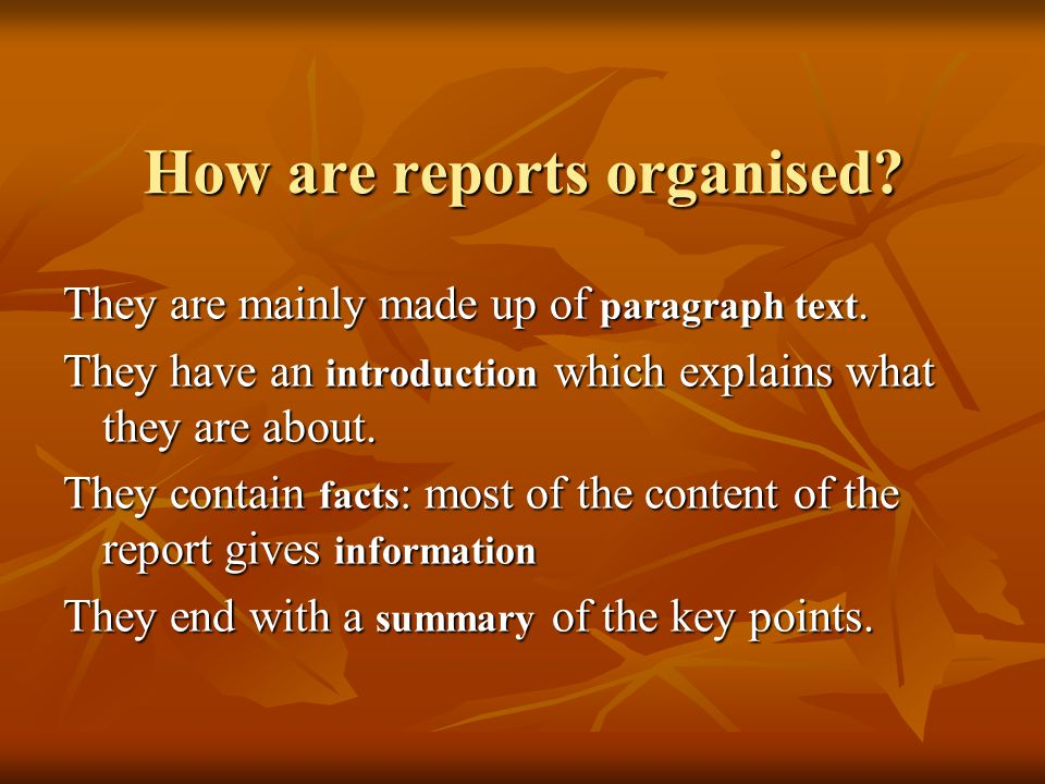 How are reports organised