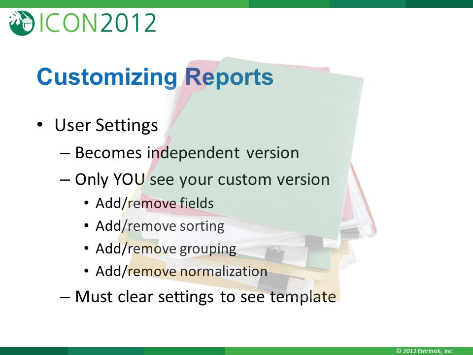 Customizing Reports User Settings Becomes independent version