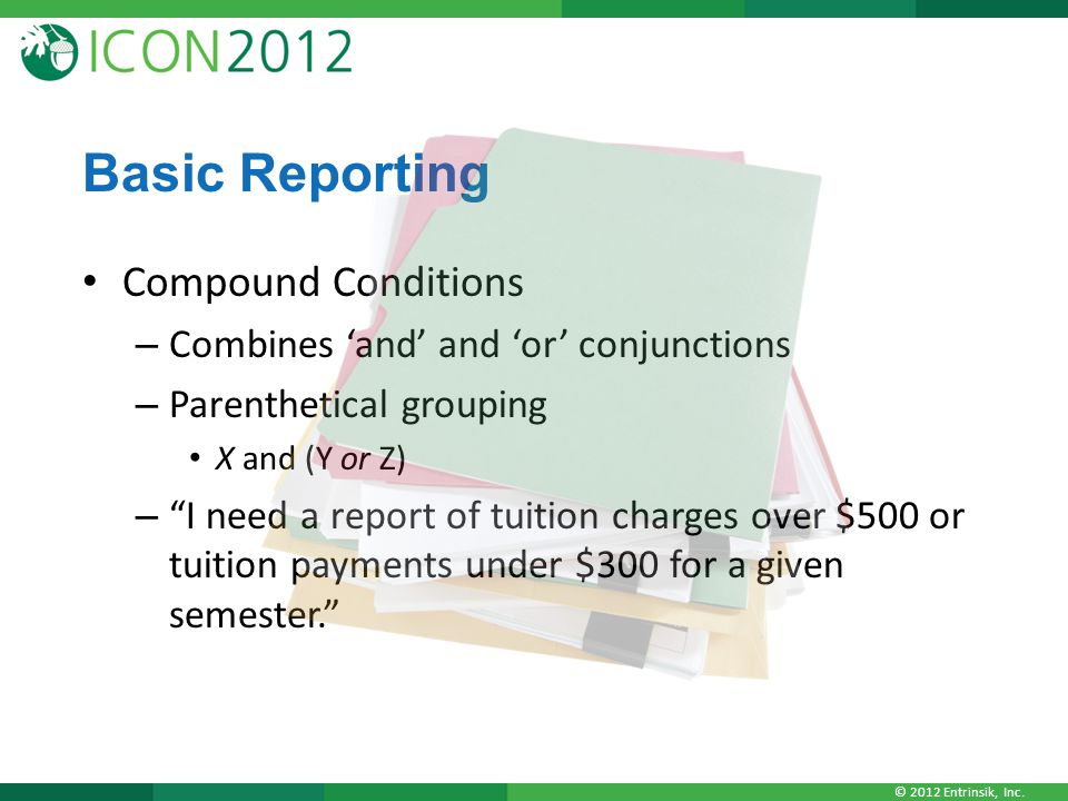 Basic Reporting Compound Conditions