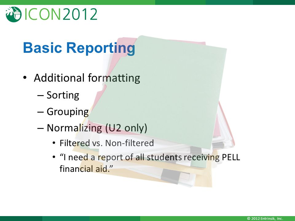 Basic Reporting Additional formatting Sorting Grouping