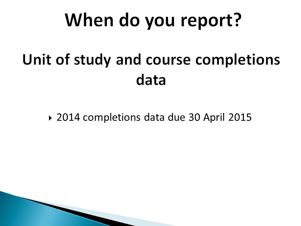 Unit of study and course completions data