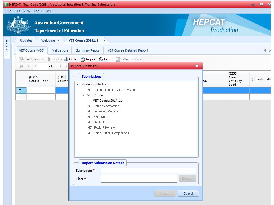I will now import the course file, the data in this file has been compiled as specified in the file structure guidelines. Most providers would have a process in place that allows them to output the data from their student systems in the format required for reporting to HEPCAT.