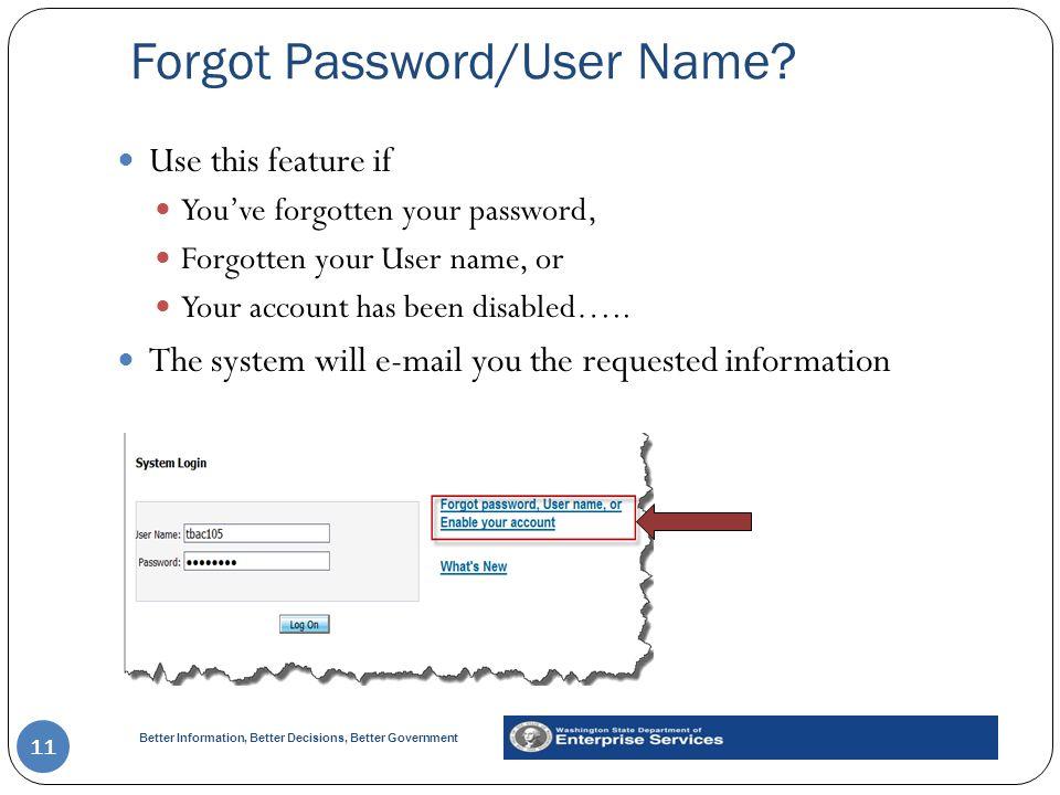 Forgot Password/User Name