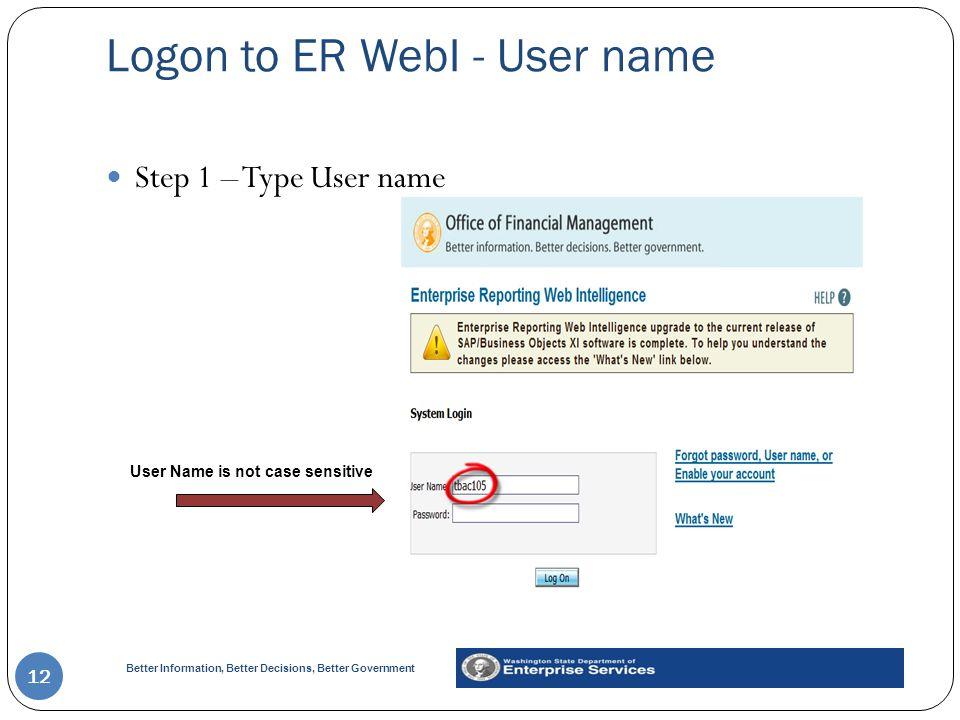 Logon to ER WebI - User name