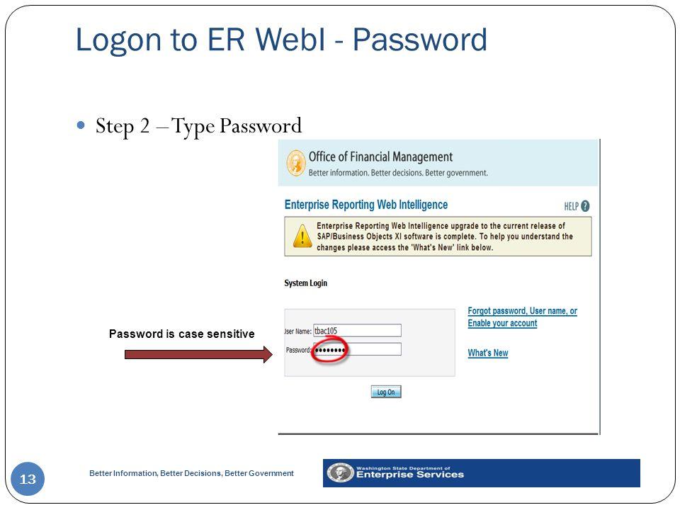 Logon to ER WebI - Password