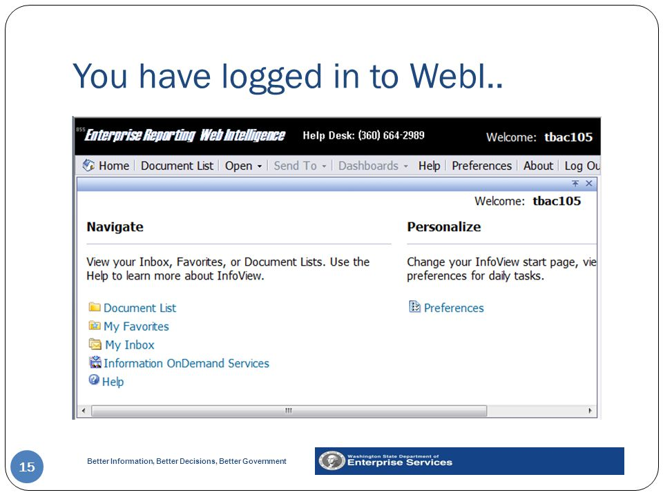 You have logged in to WebI..