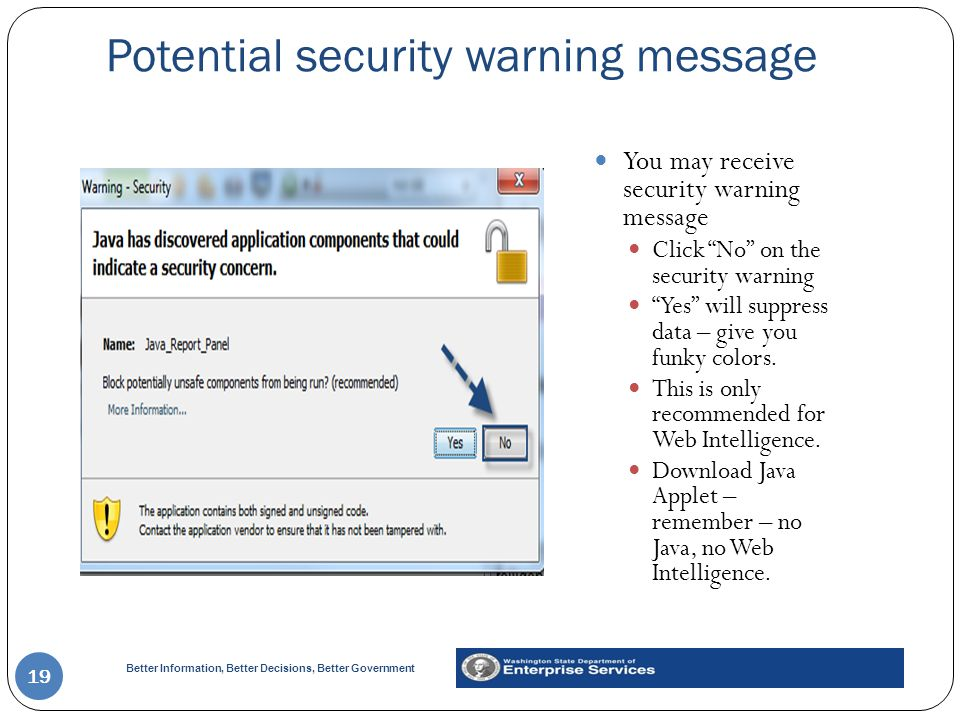 Potential security warning message