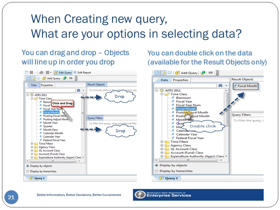 When Creating new query, What are your options in selecting data