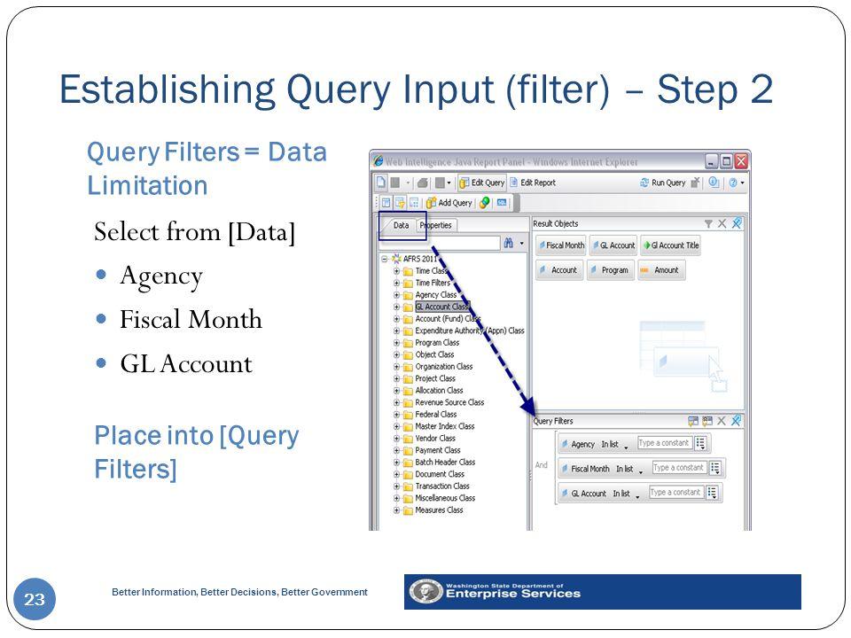 Establishing Query Input (filter) – Step 2