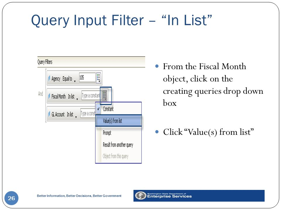 Query Input Filter – In List