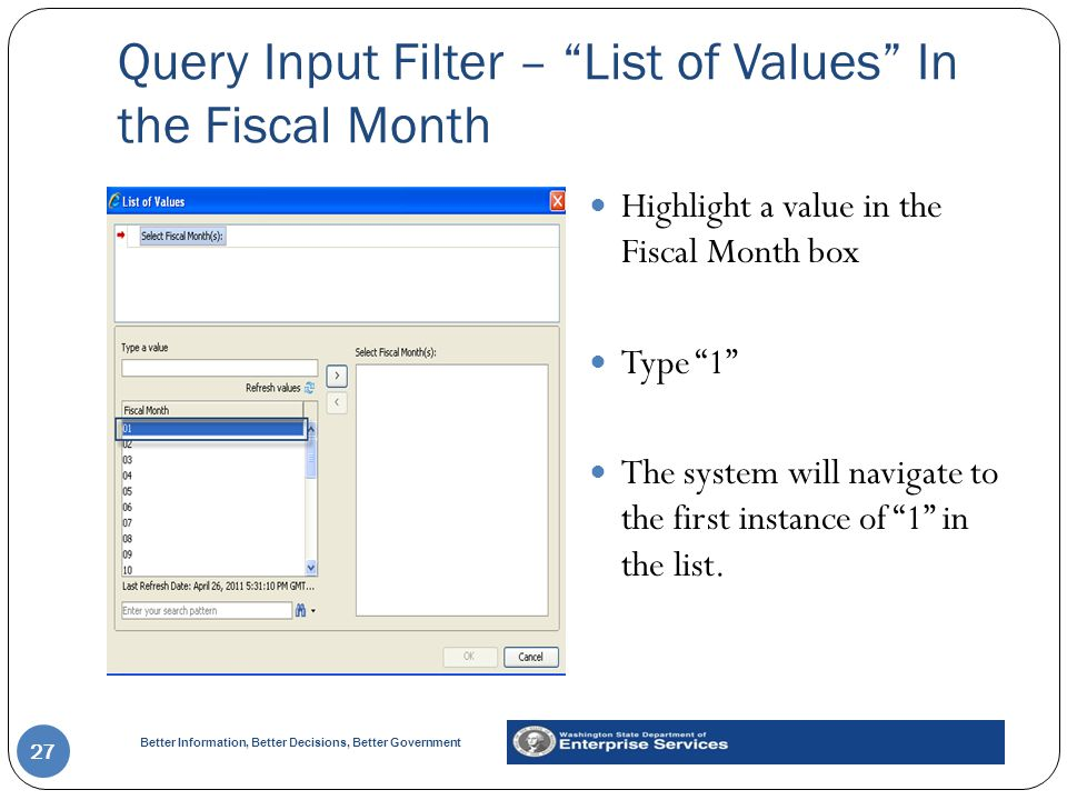 Query Input Filter – List of Values In the Fiscal Month