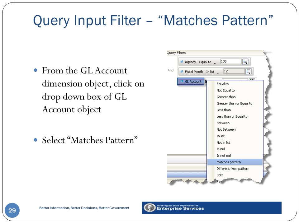 Query Input Filter – Matches Pattern