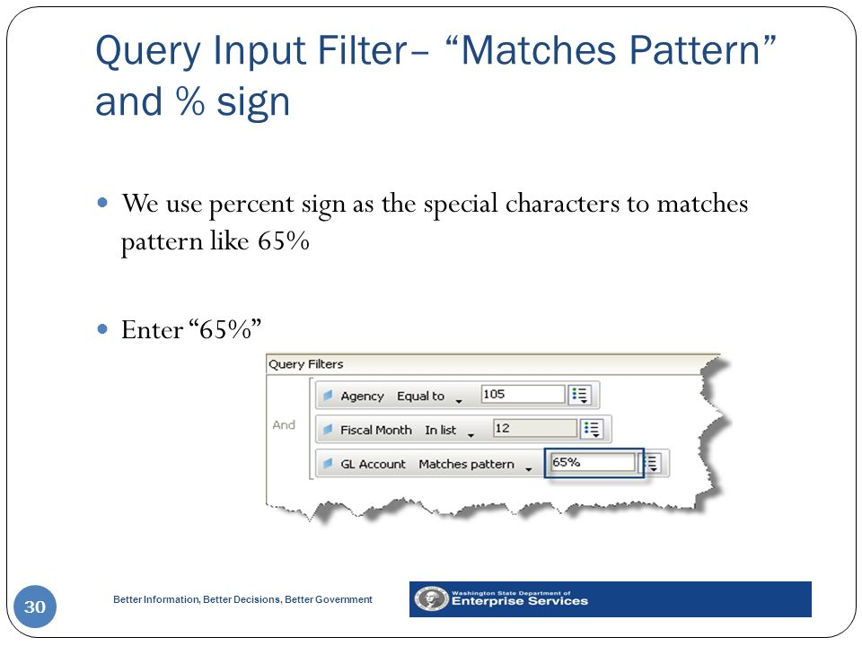 Query Input Filter– Matches Pattern and % sign