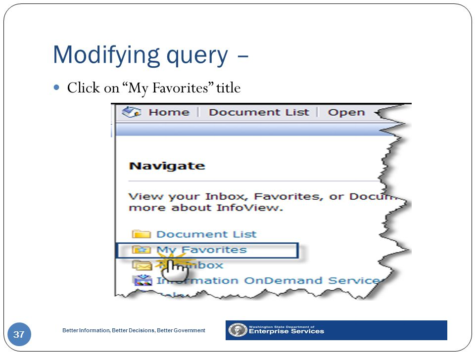 Modifying query – Click on My Favorites title