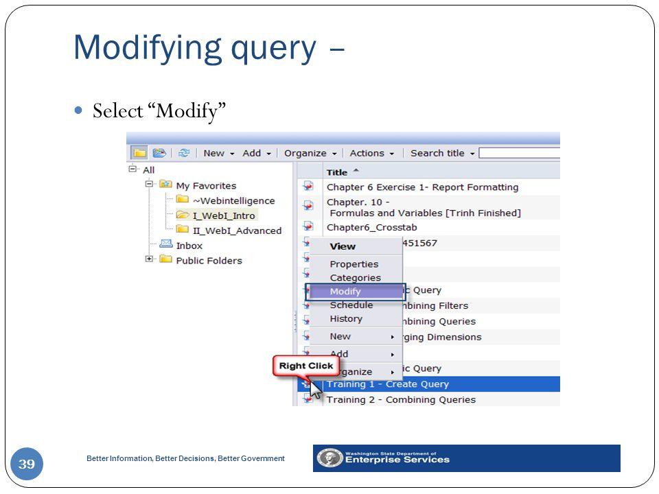 Modifying query – Select Modify