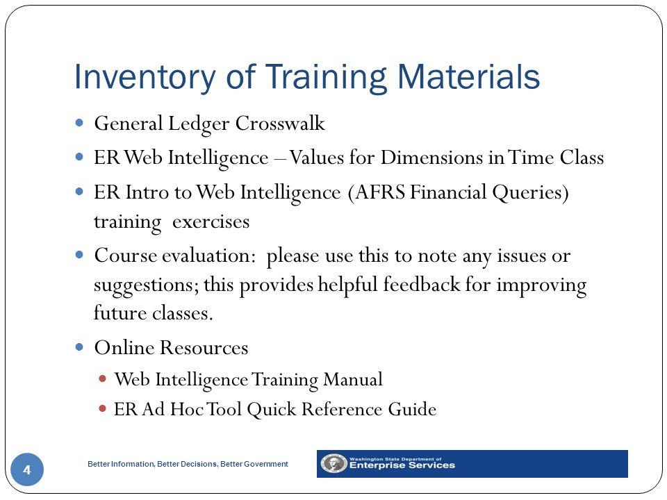 Inventory of Training Materials