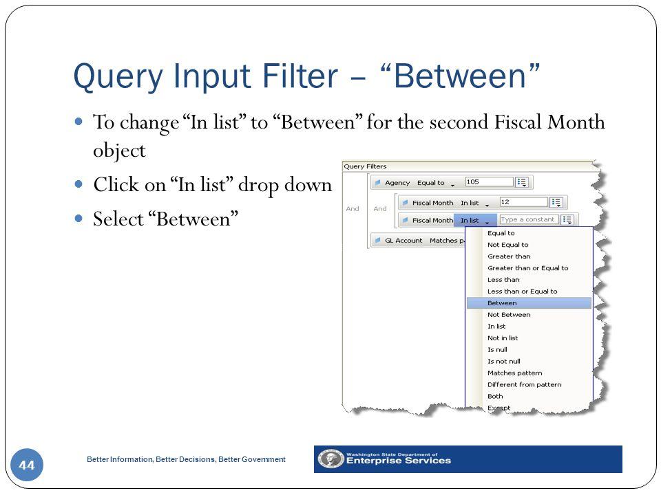 Query Input Filter – Between