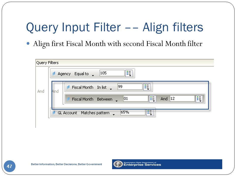 Query Input Filter –– Align filters