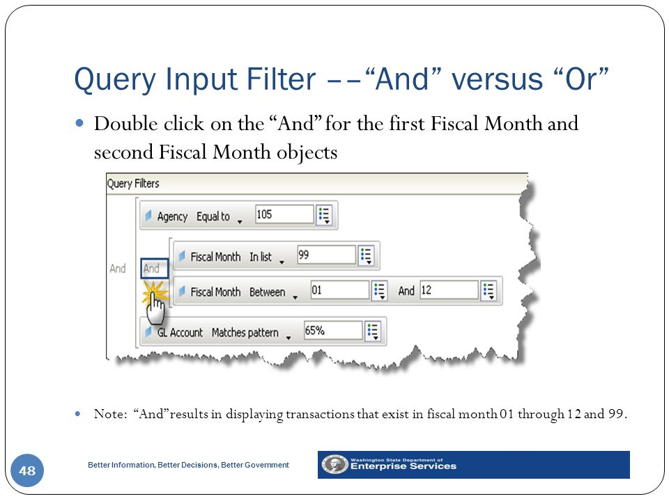 Query Input Filter –– And versus Or