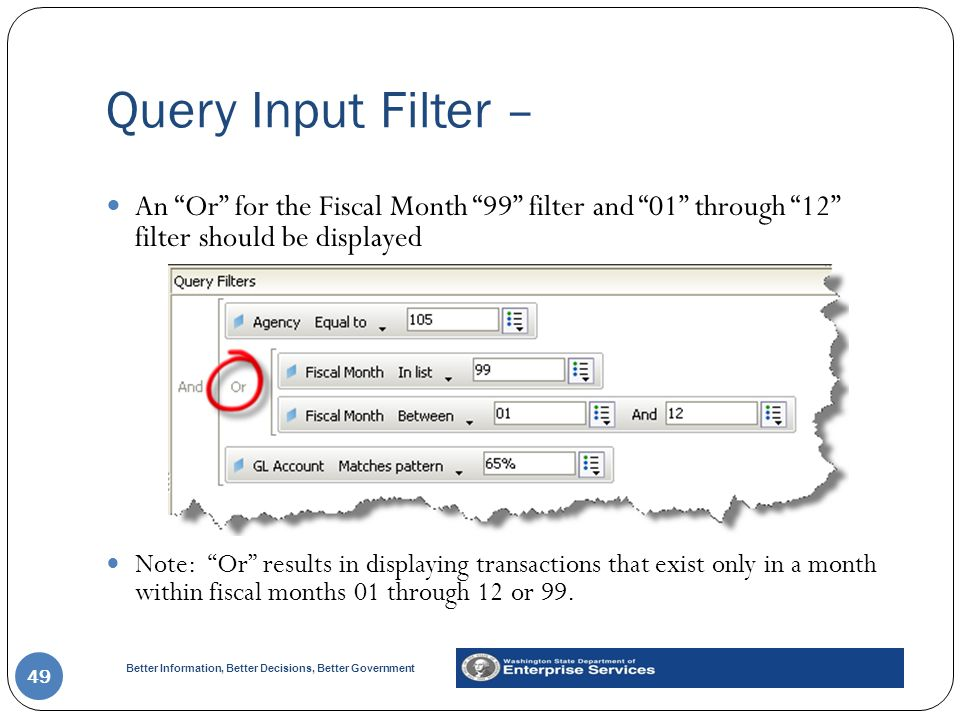 Query Input Filter – An Or for the Fiscal Month 99 filter and 01 through 12 filter should be displayed.
