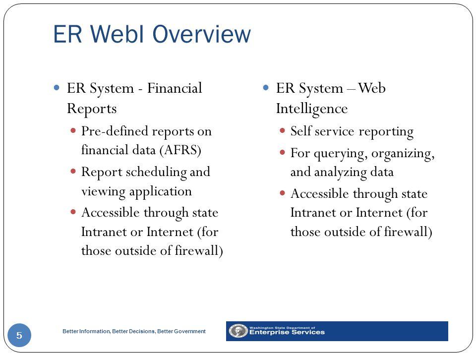 ER WebI Overview ER System - Financial Reports