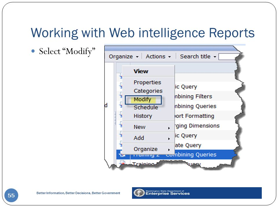 Working with Web intelligence Reports