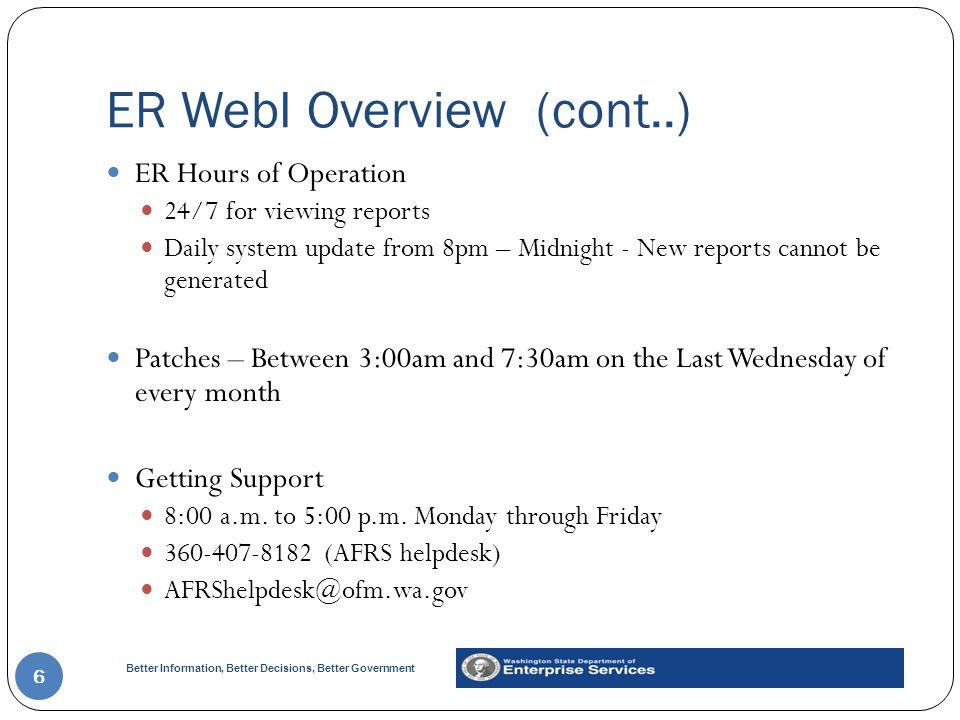 ER WebI Overview (cont..)