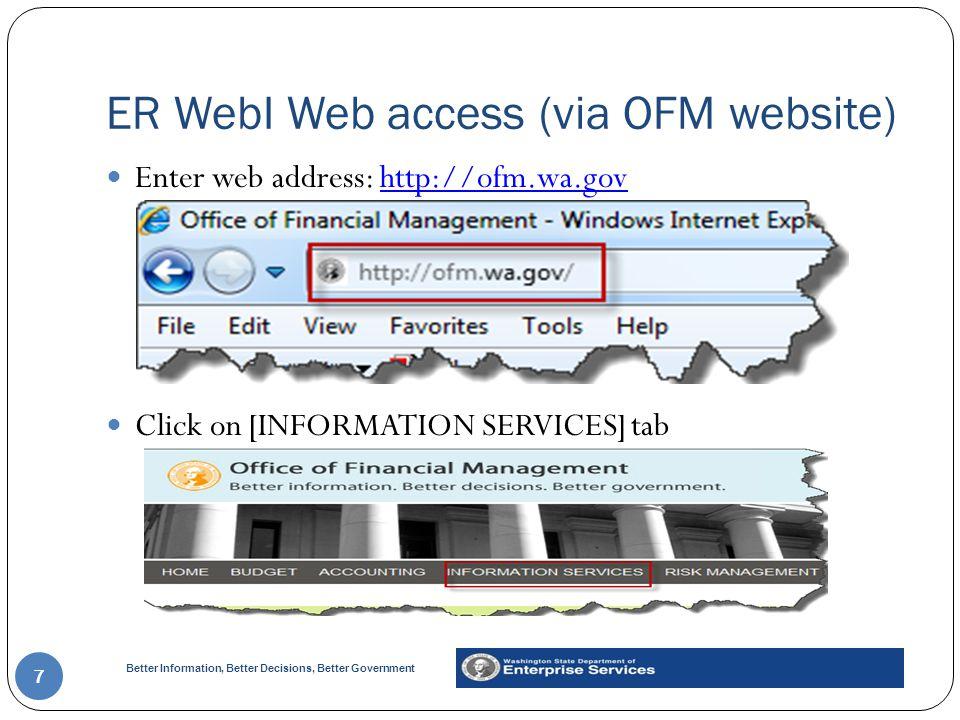 ER WebI Web access (via OFM website)
