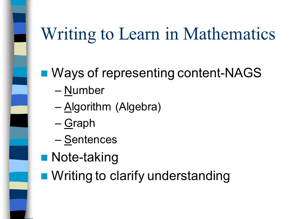 Writing to Learn in Mathematics