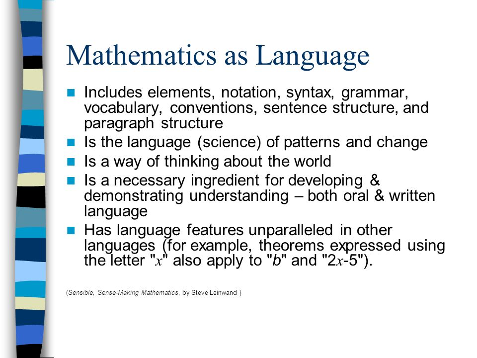 Mathematics as Language