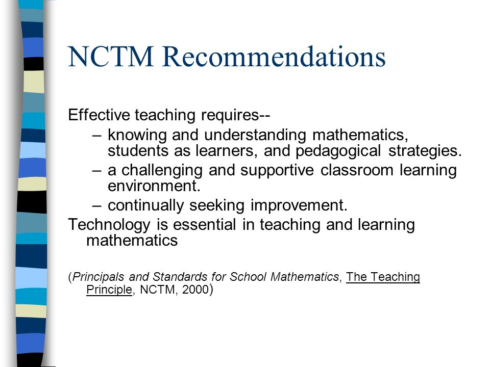 NCTM Recommendations Effective teaching requires--