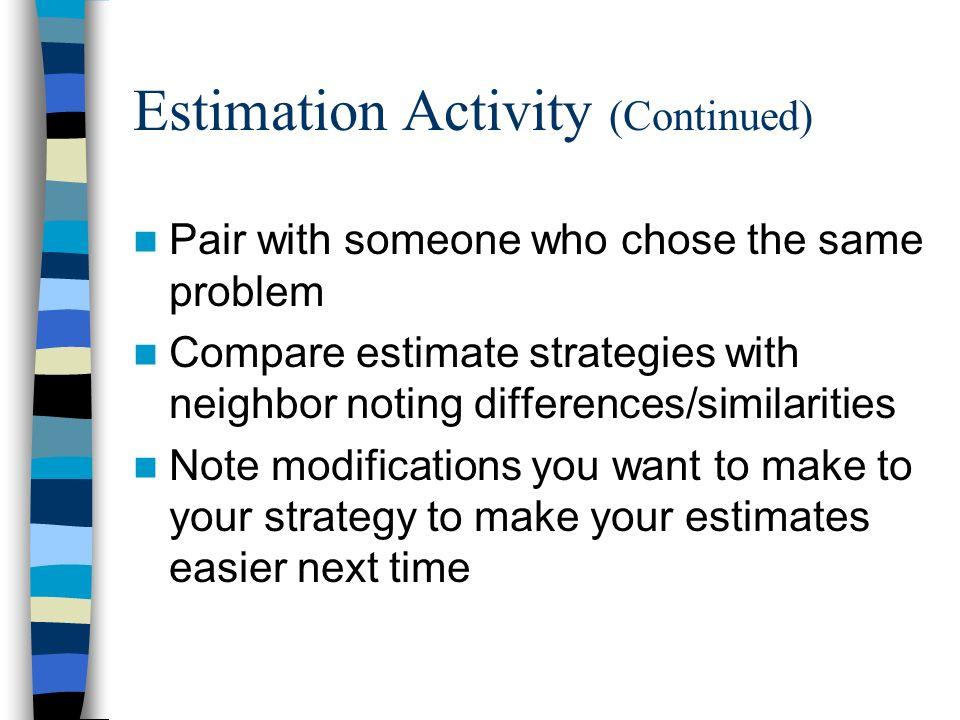 Estimation Activity (Continued)