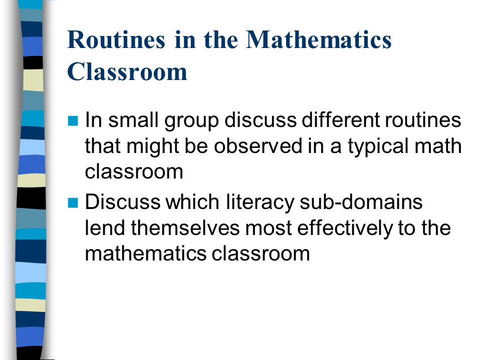 Routines in the Mathematics Classroom