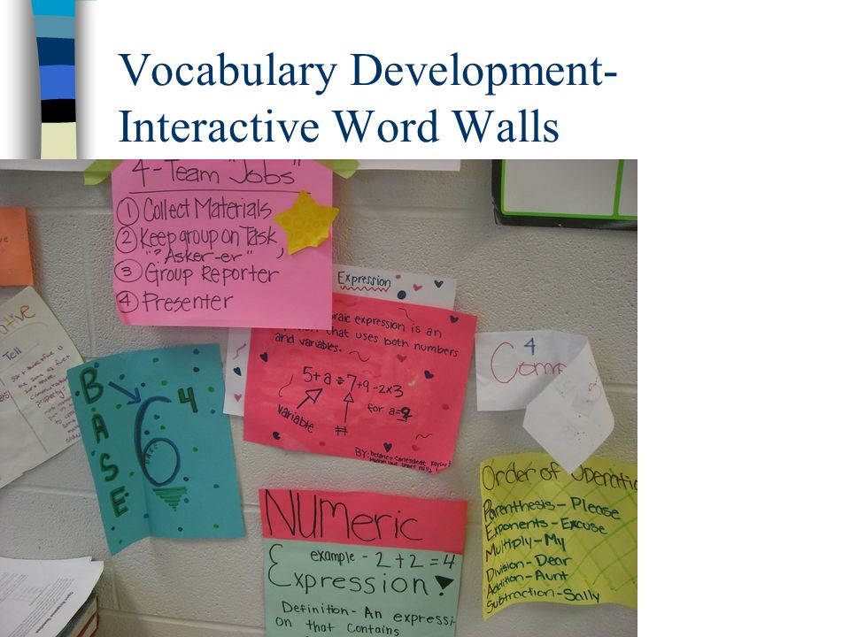 Vocabulary Development- Interactive Word Walls