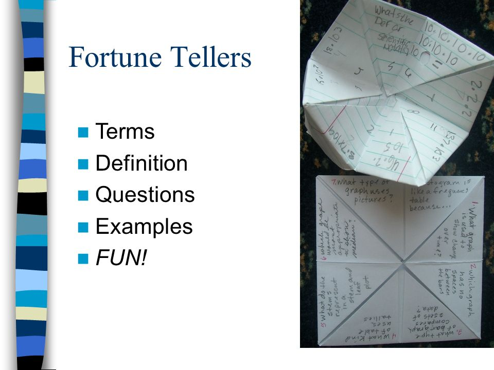 Fortune Tellers Terms Definition Questions Examples FUN!