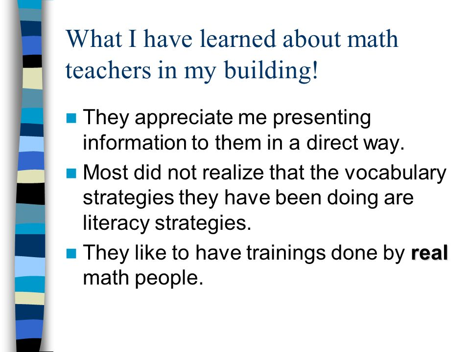 What I have learned about math teachers in my building!