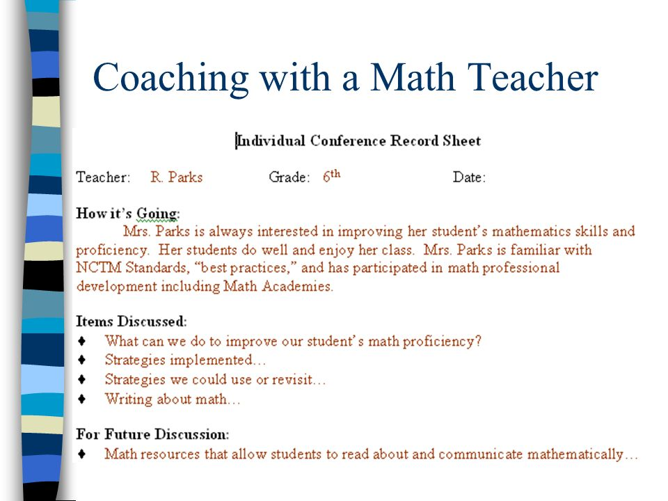 Coaching with a Math Teacher
