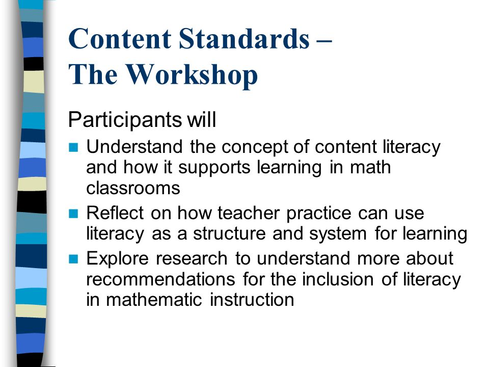 Content Standards – The Workshop