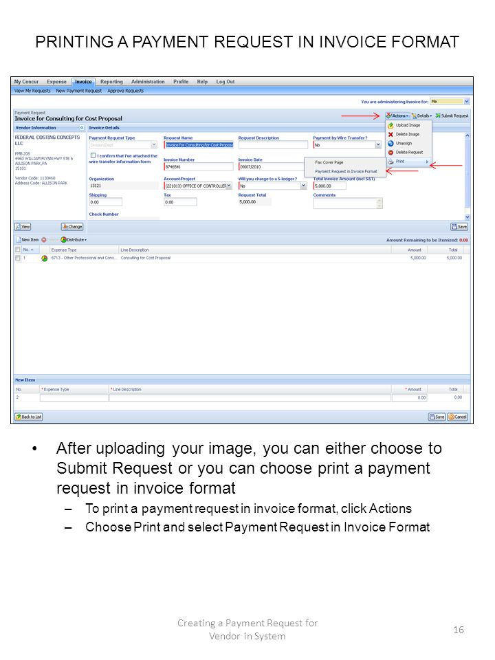 PRINTING A PAYMENT REQUEST IN INVOICE FORMAT