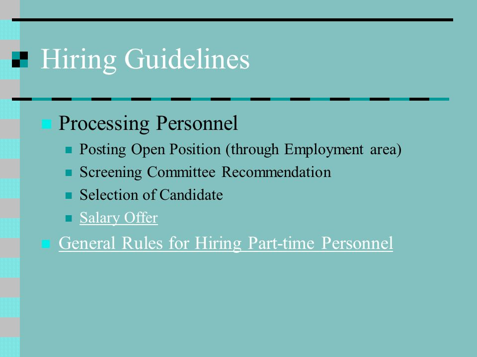 Hiring Guidelines Processing Personnel
