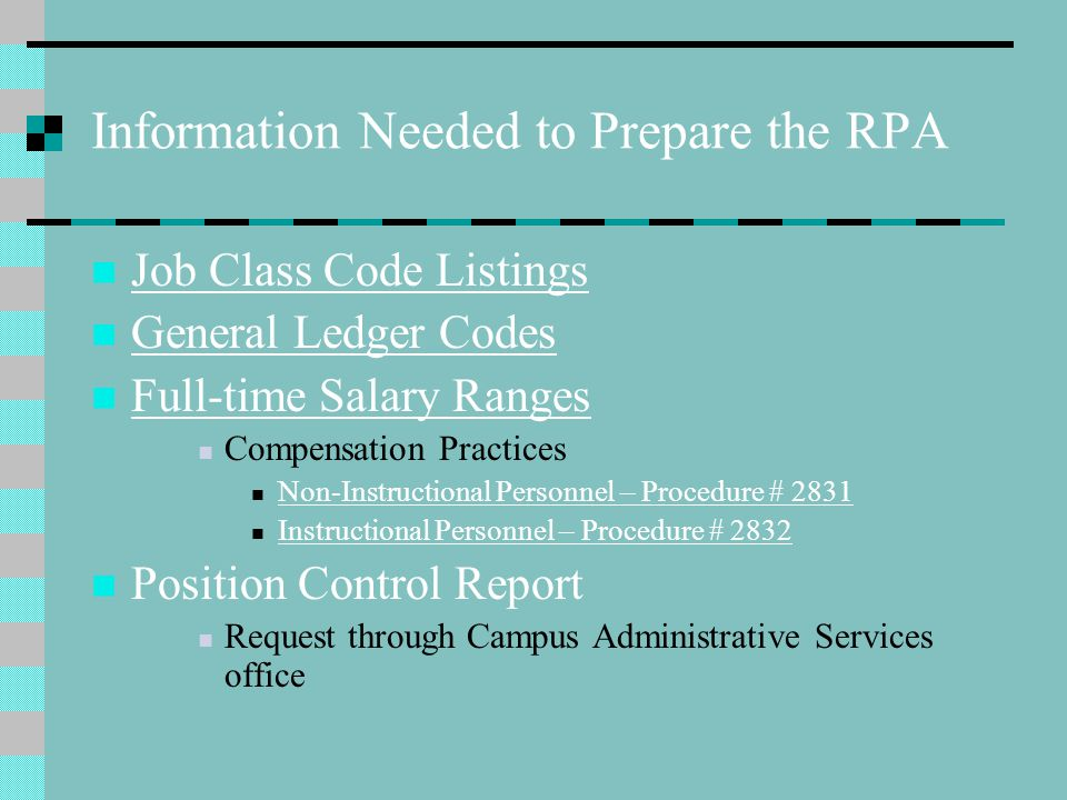 Information Needed to Prepare the RPA