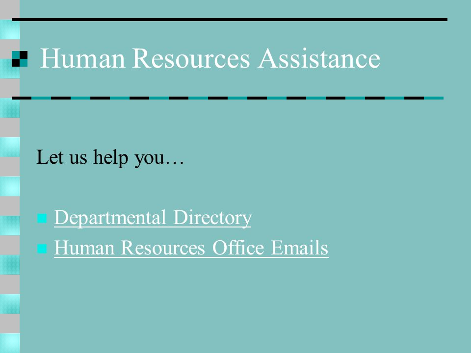 Human Resources Assistance