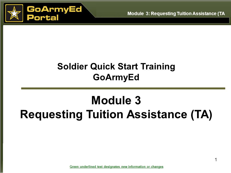 Soldier Quick Start Training Requesting Tuition Assistance (TA)