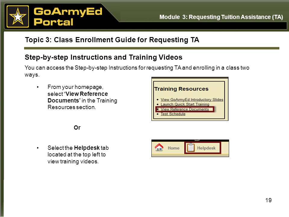 Topic 3: Class Enrollment Guide for Requesting TA