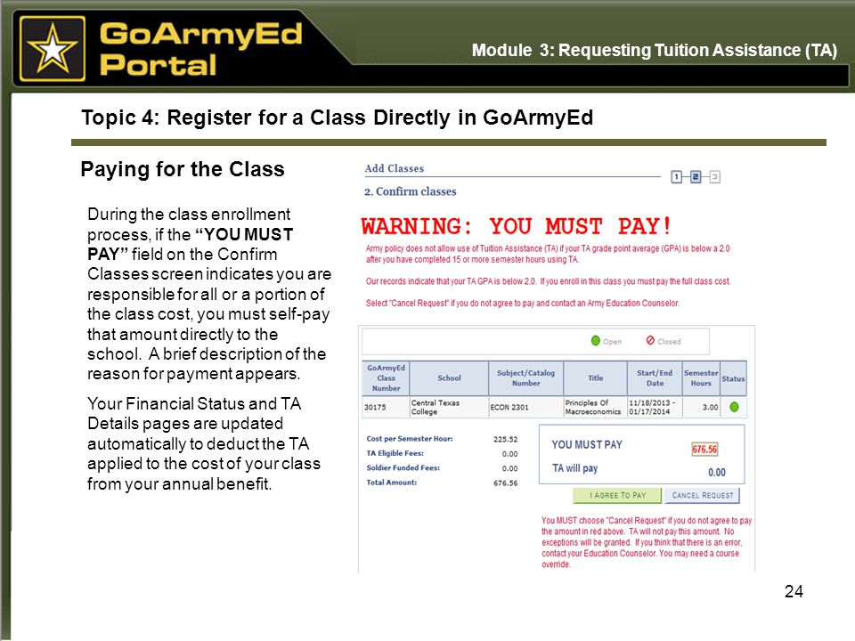 Topic 4: Register for a Class Directly in GoArmyEd