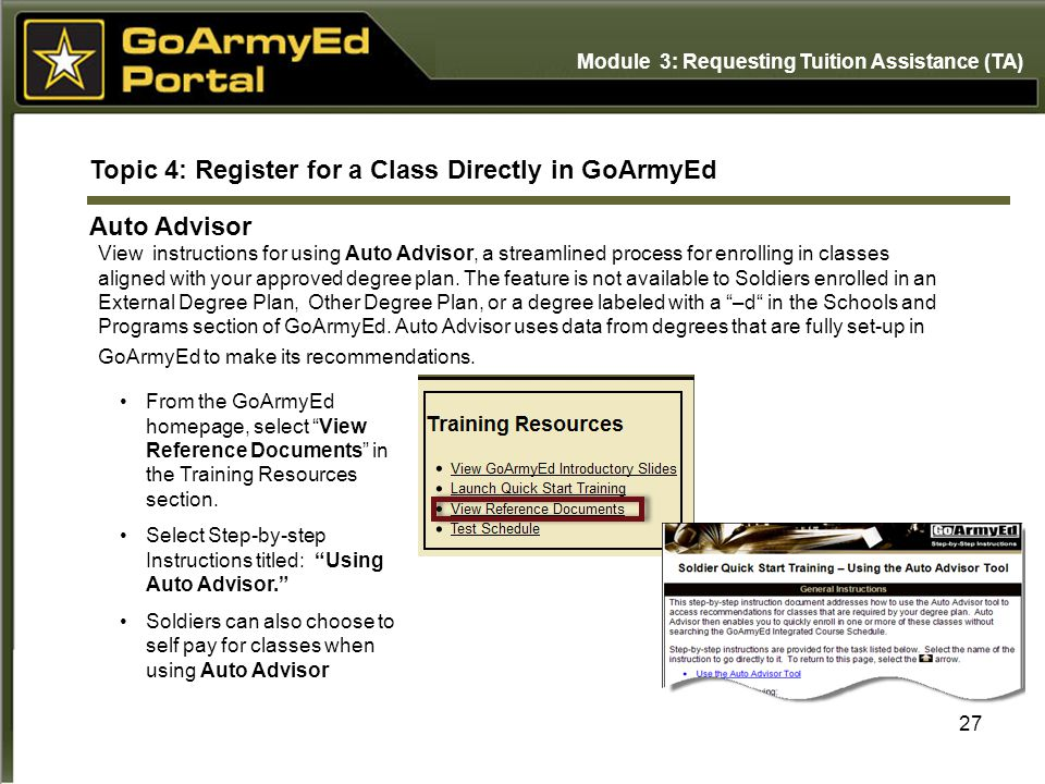 Topic 4: Register for a Class Directly in GoArmyEd Auto Advisor