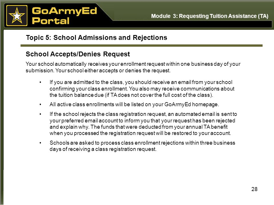 Topic 5: School Admissions and Rejections