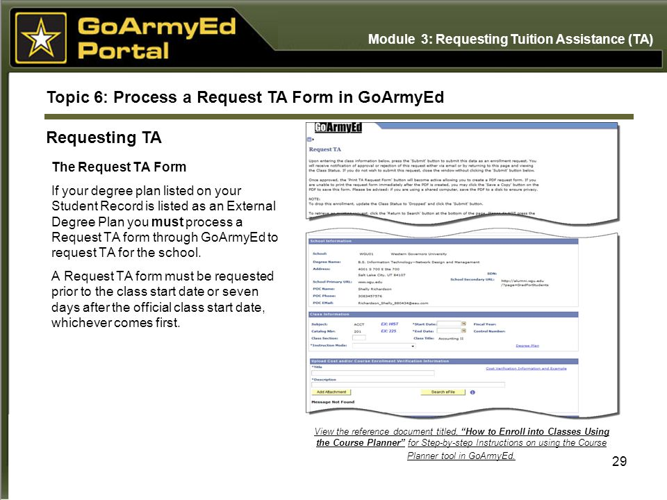 Topic 6: Process a Request TA Form in GoArmyEd Requesting TA